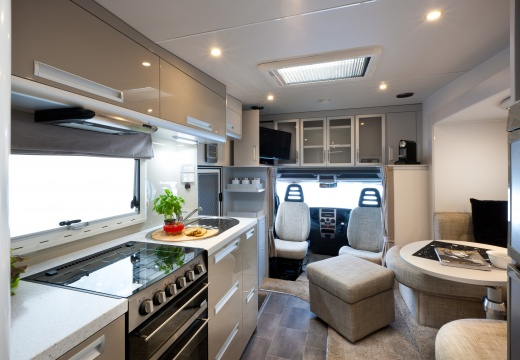 Interior of a TrailLite luxury motorhome